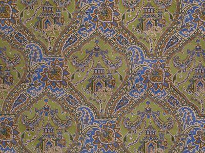 GULCHIHRA PRINTED VELVET BLUE/GREEN-0