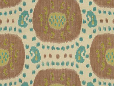 SAMARKAND COTTON AND LINEN PRINT TAUPE/AQUA-0