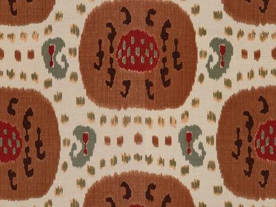 SAMARKAND COTTON AND LINEN PRINT BROWN ON BEIGE-0