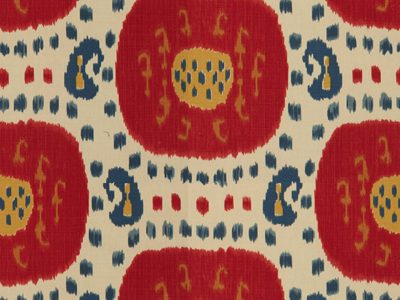 SAMARKAND COTTON AND LINEN PRINT POMPEIAN RED/OXFORD BLUE-0