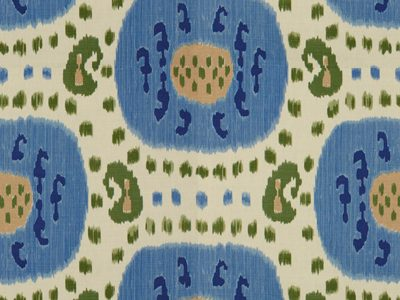 SAMARKAND COTTON AND LINEN PRINT CANTON BLUE/GREEN-0