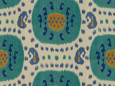 SAMARKAND COTTON AND LINEN PRINT AQUA/BLUE-0