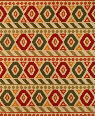 UZBEK LINEN AND COTTON PRINT PINE/RED/TIGER LILY-0