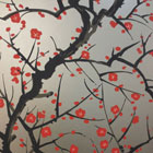 FLOWERING QUINCE - RED/BLACK ON PEWTER-0