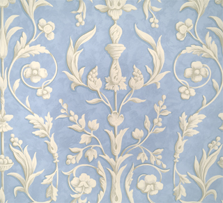 ARABESQUE - PLASTER WHITE ON NORDIC BLUE FRESCO-0